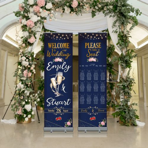 Wedding Roller Banner N13 - Welcome to our Wedding / Table Seating Plan